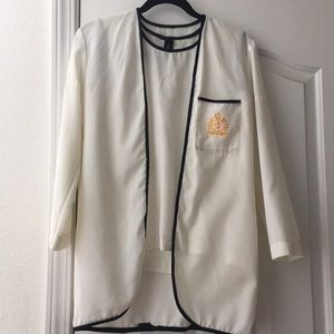USED Satin Ivory/White Formal Blouse with Jacket